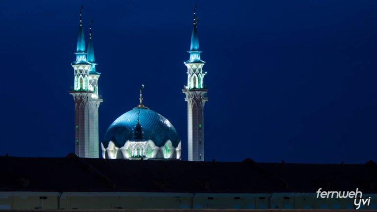 Moschee Kasan bei Nacht
